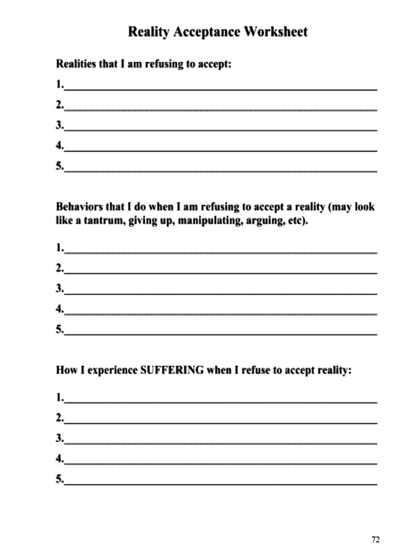 Reality Acceptance Worksheet DBT SKILLS APPLICATION SELF HELP
